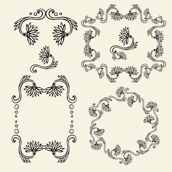 Ensemble de cadres floraux vintage et éléments de conception