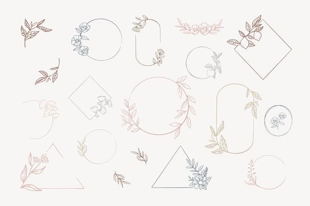 Ensemble de cadres floraux
