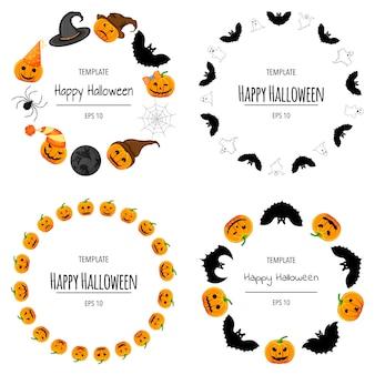 Ensemble de cadres d'halloween pour votre texte avec des attributs traditionnels. style de bande dessinée. illustration vectorielle.