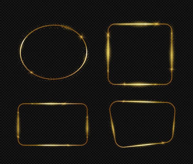 Ensemble de cadres de lumière dorée isolé sur noir