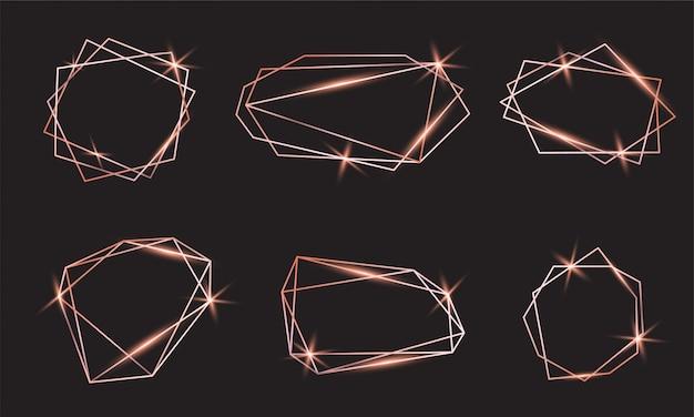 Ensemble de cadres de luxe en or rose brillant. collection de formes polygonales linéaires