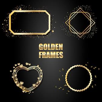 Ensemble de cadres métalliques dorés avec des étincelles