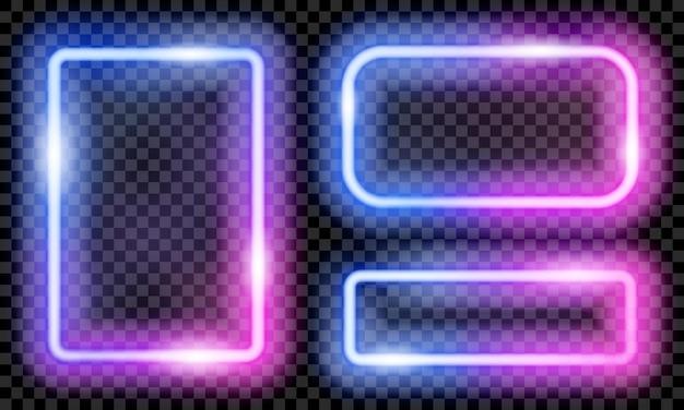 Ensemble de cadres néon translucides colorés en bleu et violet sur fond transparent. transparence uniquement en format vectoriel