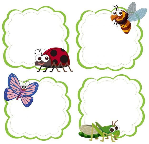 Ensemble de cadres de notes d'insectes