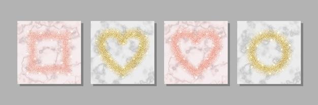 Ensemble de cadres en paillettes roses et dorées et en marbre modèles pour cartes d'anniversaire et couvertures de voeux