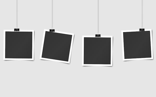Ensemble de cadres photo carrés sur des épingles. conception de modèle de photo