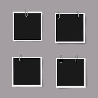 Ensemble de cadres photo carrés réalistes avec des ombres