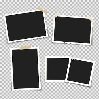 Ensemble de cadres photo réalistes avec des formes rétro sur les bords, sur des supports et des morceaux de ruban adhésif collant et de scotch