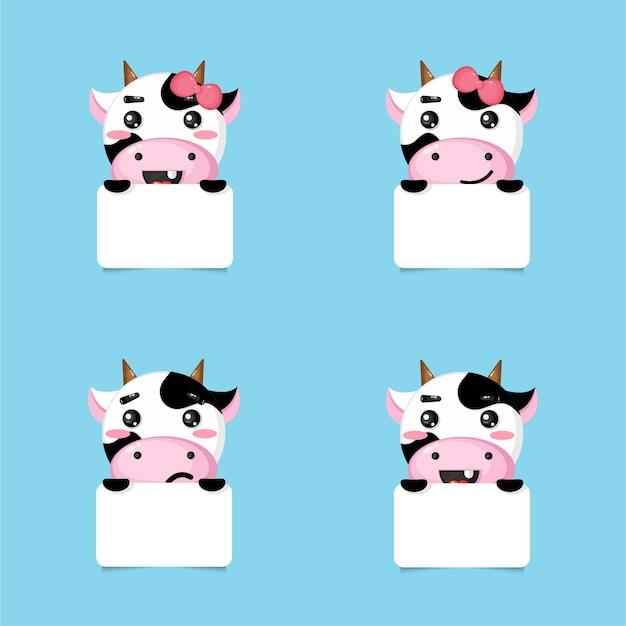 Ensemble de cadres photo de vache mignonne