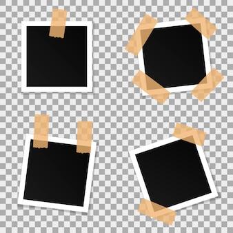 Ensemble de cadres de photo de vecteur carré.