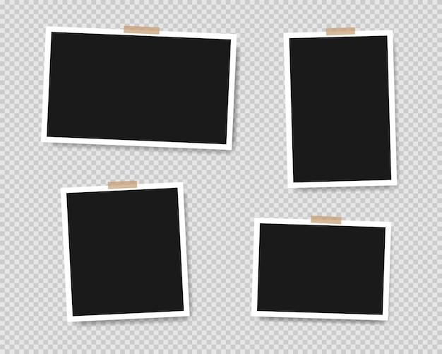 Ensemble de cadres photo vides avec du ruban adhésif isolé sur fond transparent. illustration vectorielle eps 10