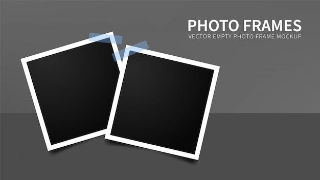Ensemble de cadres photo vides avec des rubans adhésifs bleus