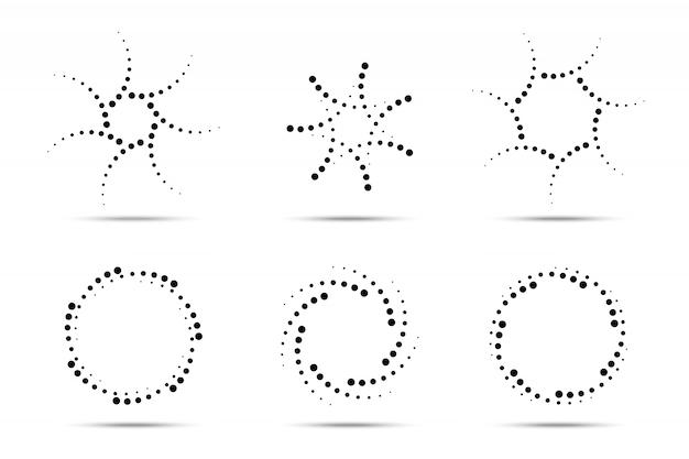 Ensemble de cadres en pointillés circulaires en demi-teintes. points de cercle