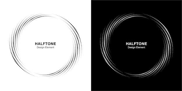 Ensemble de cadres de points de cercle de demi-teintes.