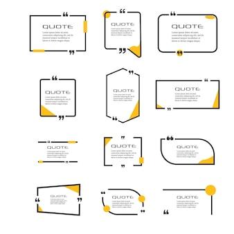 Ensemble de cadres pour citations commentaire de citation de bulle citations de texte cadre de citations