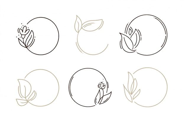 Ensemble de cadres ronds dessinés à la main avec des branches