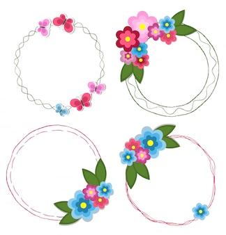 Ensemble de cadres ronds dessinés à la main avec des fleurs