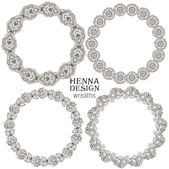 Ensemble de cadres ronds floraux au henné basés sur des ornements asiatiques traditionnels. collection paisley mehndi.