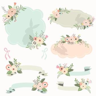 Ensemble de cadres et rubans floraux pour pâques