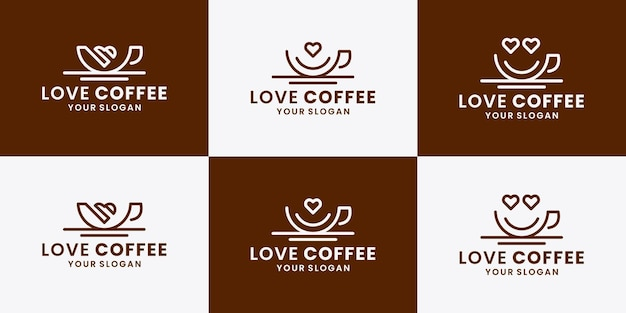 Ensemble de café d'amour, symbole de conception de logo de café
