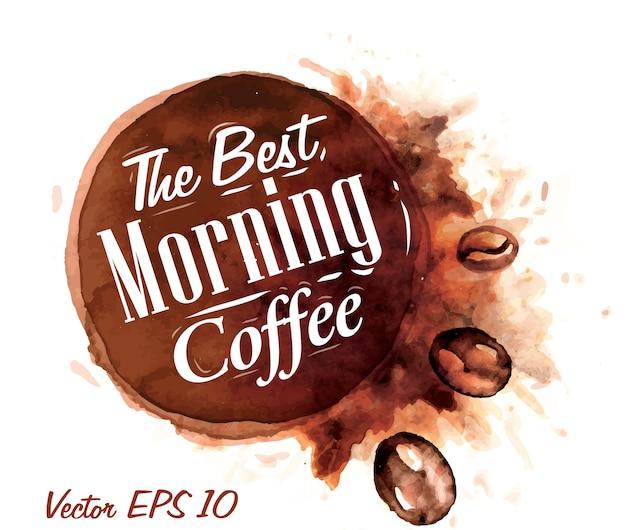 Ensemble de café aquarelle le meilleur café du matin