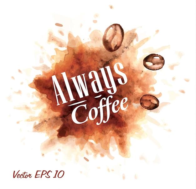 Ensemble de café aquarelle toujours café