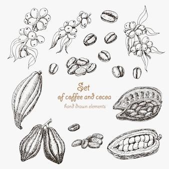 Ensemble de café et de cacao
