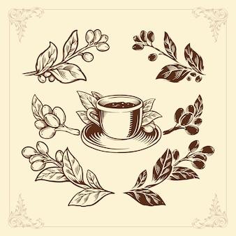 Ensemble de café, élément de style vintage dessin à la main