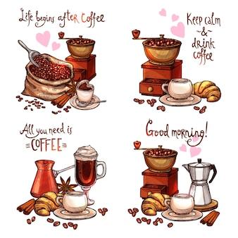 Ensemble de café isolé sur blanc