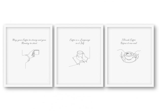 Ensemble De Café Une Ligne, Affiche Banque D'illustrations Vecteur Premium