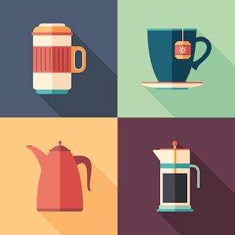 Ensemble de café et thé plat icônes carrées avec longues ombres.