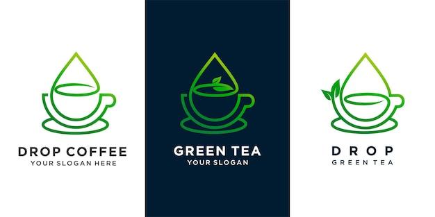 Ensemble de café ou de thé vert ou de thé avec la conception de logo de concept de combinaison de goutte d'eau et de feuille de thé. vecteur premium