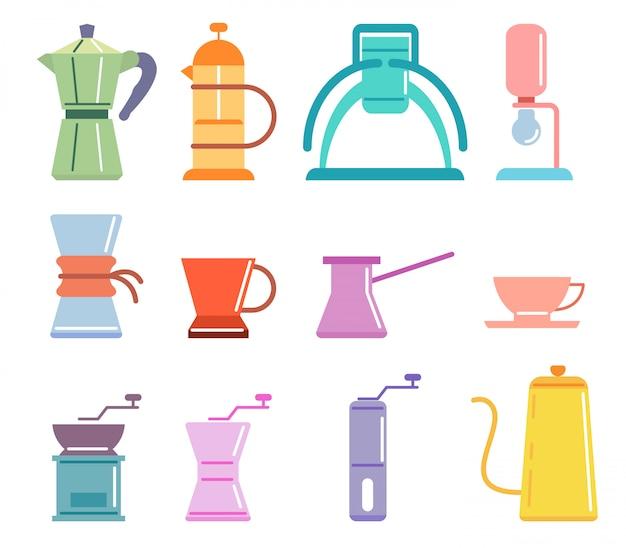 Ensemble de cafetières manuelles à café couleur douce