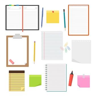 Ensemble de cahiers de vecteur, agendas et feuilles de papier
