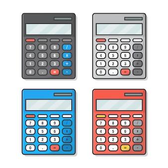 Ensemble de calculatrice isolé sur blanc