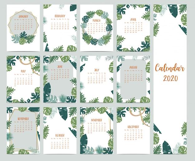 Ensemble de calendrier 2020 avec des feuilles