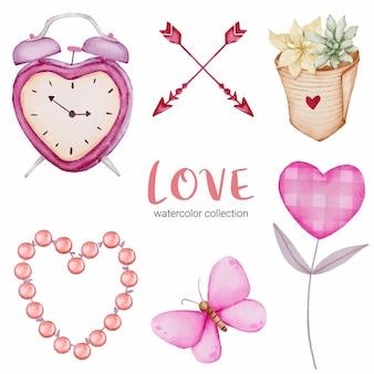 Ensemble de callection d'amour, élément de concept aquarelle saint-valentin isolé charmant coeurs rouge-rose romantique pour la décoration, illustration.