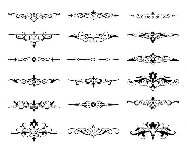 Ensemble calligraphique d'éléments graphiques, monogrammes et curlicues, flèches.