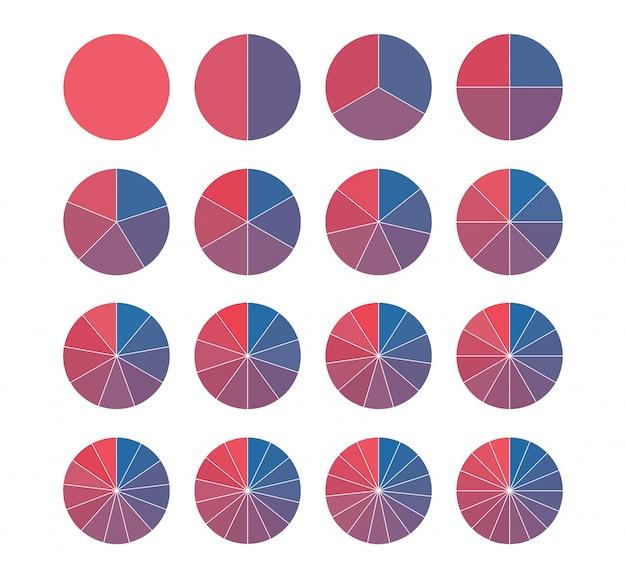 Ensemble de camemberts aux couleurs vives. mathématiques des fractions.
