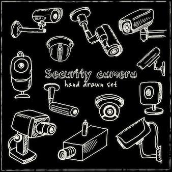 Ensemble de caméras de sécurité dessinés à la main