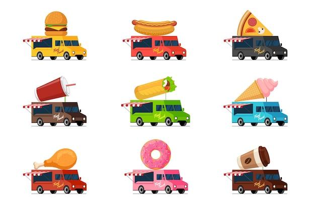 Ensemble de camion de restauration rapide burger hot dog pizza boisson milk-shake shawarma kebab crème glacée poulet frit