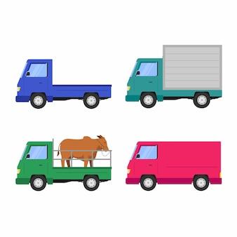 Ensemble de camionnette vue latérale transport de marchandises voiture de livraison