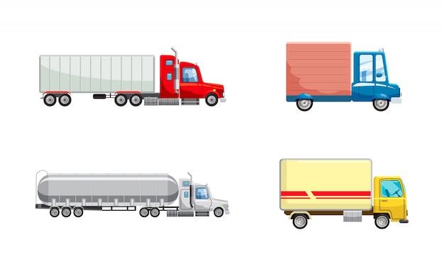 Ensemble de camions. jeu de dessin animé de camion