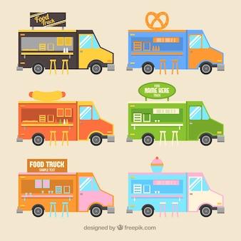 Ensemble de camions de nourriture mignon dans un style plat