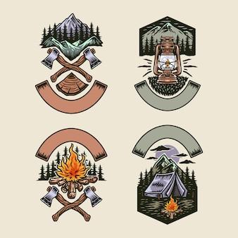 Ensemble de camping aventure, ligne dessinée à la main avec couleur numérique, illustration