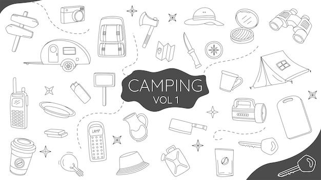 Ensemble de camping doodle