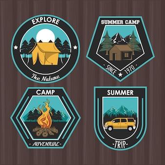 Ensemble de camping explorer les emblèmes de patchs d'été