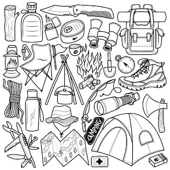 Ensemble, camping, main, dessiné, griffonnage