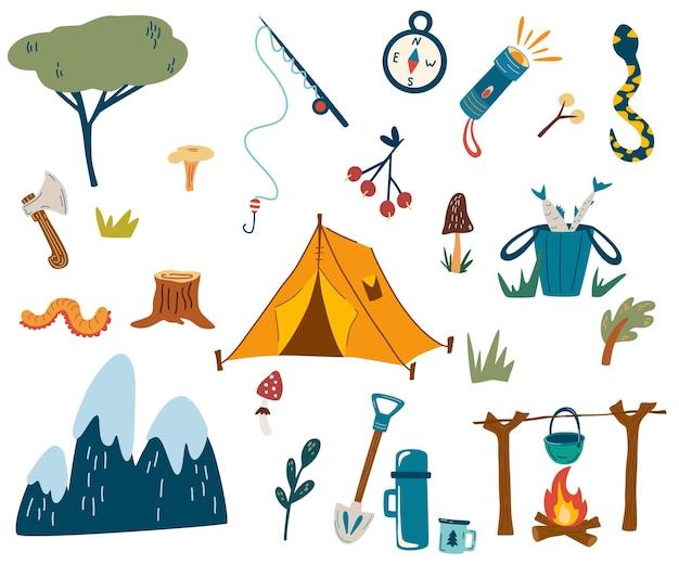 Ensemble de camping et de randonnée équipement touristique dessin à la main kit d'éléments de randonnée en plein air