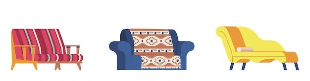 Ensemble de canapé moderne, canapé classique ou rétro canapé lawson confortable à deux places, causeuse, chaise longue et canapé futon avec revêtement en cuir ou en tissu brodé et rouleau souple. illustration vectorielle de dessin animé